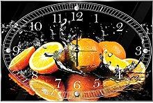 'delester Design Orangen Wanduhr (déco-vitre), Glas, mehrfarbig, 60x 40x 4cm