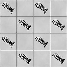 'Fish Scales' BADEZIMMER Fliesen Aufkleber Aufkleber Set x36Aufkleber (schwarz)