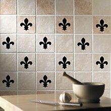 'Fleur De Lys' (Design 5) Badezimmer/Küche Keramik Fliesen Aufkleber Aufkleber Set x36Aufkleber (schwarz