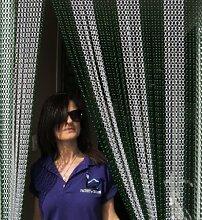 'Grün und Silber'- Kettenvorhang aus Aluminium/ Sichtschutz/ Insektenschutz- 90 cm brei
