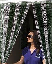 'Grün und Silber'- Kettenvorhang aus Aluminium/ Sichtschutz/ Insektenschutz- 100 cm brei