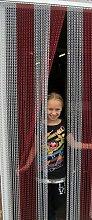 'ROT/SILBER'- Kettenvorhang aus Aluminium/ Sichtschutz/ Insektenschutz- 100 cm brei