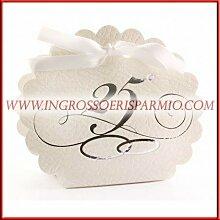 'Schachtel Konfekt Tischkärtchen in Weiß mit