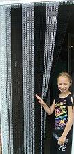 'SCHWARZ/SILBER'- Kettenvorhang aus Aluminium/ Sichtschutz/ Insektenschutz- 100 cm brei