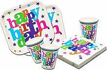 'Teller, Becher und Servietten Geburtstag Mädchen und Junge. 88Teile Partyset Kindergeburtstag Einweggeschirr Happy Birthday