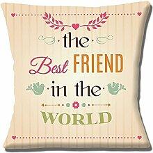 """'The Best Freund in The World' Einzigartige Geschenkidee Creme 16"""" (40cm) Kissenbezug"""