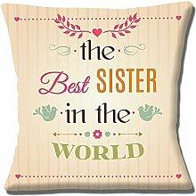 """'The Best Schwester in The World' Einzigartige Geschenkidee Creme 16"""" (40cm) Kissenbezug"""