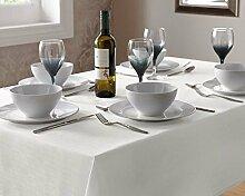 'Weiß Effekt Leinen Tischdecke 180cm (70) Rund