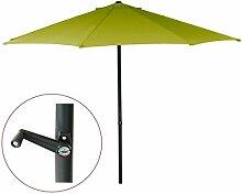 Ø 3m Sonnenschirm Gartenschirm Marktschirm Sonnenschutz Schirm mit Kurbel (Grün)