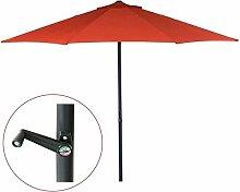 Ø 3m Sonnenschirm Gartenschirm Marktschirm Sonnenschutz Schirm mit Kurbel (Rot)