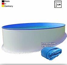 Ø 4,20 m Pool - Premium | Tiefe 1,20m | 0,8mm Folie mit Keilbiese + 0,6mm Stahlmantel | - Schwimmbecken Swimmingpool Rundpool Stahlwandbecken