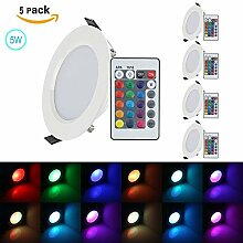 (4-pack)XJLED 5W Led Deckenspots RGB Lights,Led Panel Light LED Panellampen,Pendelleuchten,AC85-265V, Farbige Leuchtmitte,Tolles Design Led Deckenleuchten LED Einbaustrahler Dekorative Leuchtmittel für Zuhause (5W 4Pcs)