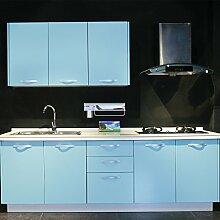 [4 Rollen] AuraLum® 61cm x 5m Hochglanz Selbstklebend Küchenschrank-Aufkleber Küchenfolie Refurbished Küchenschränke Kleiderschrank PVC Aufkleber Folie Möbel Schrank Tür Papier für Wandplakate - Hellblau