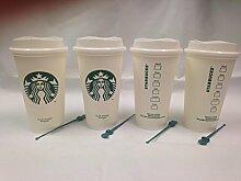 , 4 Stück, Weiß, wiederverwendbar, Motiv Starbucks Becher Grande Medium, 16 oz (473 ml)