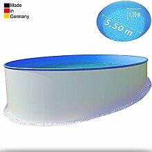 Ø 5,50 m Pool - Premium | Tiefe 1,20m | 0,6 mm Folie mit Keilbiese + 0,6mm Stahlmantel | - Schwimmbecken Swimmingpool Rundpool Stahlwandbecken