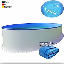 Ø 5,50 m Pool - Premium | Tiefe 1,20m | 0,8 mm Folie mit Keilbiese + 0,6mm Stahlmantel | - Schwimmbecken Swimmingpool Rundpool Stahlwandbecken