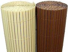 (5€/m²) PVC Bambus Sichtschutzmatte 120cm x 500cm [Bambus Natur] Sichtschutz / Windschutz / Gartenzaun / Balkon Umspannung Zaun [ Rapid Teck® ]