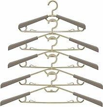 [5-Stück] Ipow® groß ausziehbare Kleiderbügel Anzugbügel aus hochwertigem Kunststoff, mit Aufhänger platzsparend für Kleiderschrank, Farbe Grau