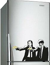( 50x30 cm ) Banksy Vinyl Wand Aufkleber Pulp Fiction Graffiti / Jungs mit Farbe Banane Pistolen / Graffiti aufkleber / Zwei Herren Abendessen Jacken Aufkleber Geschenk