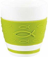°*5341 Cappuccino-Becher mit Silikonband (Grün)