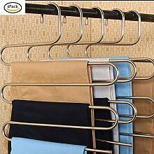 ( 6 Stück) Kleiderbügel Mehrfach-Hosenbügel Edelstahl
