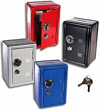 (949)(Silber) XL Spar-Tresor Safe Minisafe Spardose Sparbüchse Spartresor Schlüssel Zahlenschloss