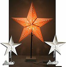 (A470) Tischlampe Stern Lampenschirm Papierstern Lampe Stehlampe 60cm weiss