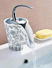 *-* antike blaue und weiße Porzellan Wasserfall ein Loch einzigen Handgriff Waschbecken Wasserhahn