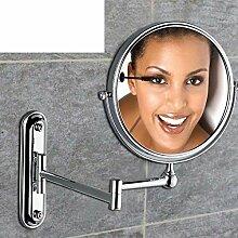 [Antike Make-up Spiegel] Doppelzimmer Bad Kosmetikspiegel Wand-Teleskop Dressing gefaltet den Spiegel verstärkt Wand-Spiegel Falten [Wandklappspiegel]-A