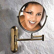 [Antike Make-up Spiegel]/Doppelzimmer Bad Kosmetikspiegel Wand-Teleskop Dressing gefaltet den Spiegel/verstärkt Wand-Spiegel Falten/[Wandklappspiegel]-B