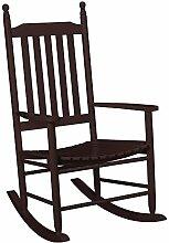 [casa.pro] Schaukelstuhl Dunkel-Braun aus Massiv-Holz – Hochwertiger Relax-Stuhl mit Armlehne zur Entspannung oder als Still-Stuhl – Schwing-Sessel Schaukel-Sessel für Wohnzimmer Küche Balkon Garten