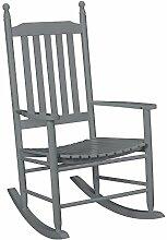 [casa.pro] Schaukelstuhl Grau aus Massiv-Holz – Hochwertiger Relax-Stuhl mit Armlehne zur Entspannung oder als Still-Stuhl – Schwing-Sessel Schaukel-Sessel für Wohnzimmer Küche Balkon Garten
