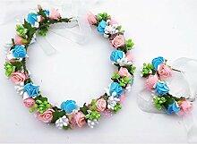 & Crown Blumenkopfschmuck Girlande, Braut Kopfschmuck Kränze Meer Urlaub Hochzeit Zubehör Blumenkranz Krone ( Farbe : 3 )