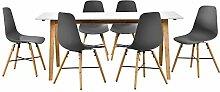 [en.casa] Design Esstisch mit 6 Stühlen