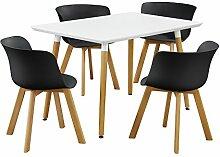 [en.casa] Essgruppe - Esstisch mit 4 Stühlen