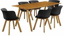 [en.casa]® Esstisch mit 6 Stühlen Bambus/schwarz