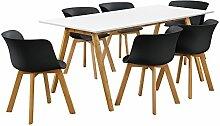 [en.casa]® Esstisch mit 6 Stühlen weiß/schwarz