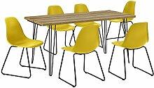 [en.casa] Esstisch mit Hairpinlegs - Holzfarben -