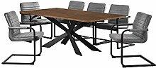 [en.casa] Esstisch Walnuss mit 6 Stühlen