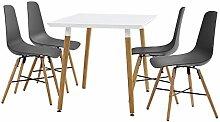 [en.casa] Esstisch weiß 120 x 70 x 75cm + Stühle