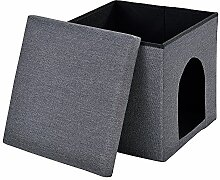 [en.casa] Faltbarer Haustier Sitzhocker (38 x 38 x 38 cm)(dunkelgrau) zugleich Aufbewahrungsbox - Stoffbezug