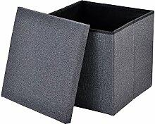 [en.casa] Faltbarer Sitzhocker (38 x 38 x 38 cm)(dunkelgrau) zugleich Aufbewahrungsbox - Stoffbezug