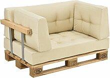 [en.casa] Palettenkissen - 2x Eckkissen - 1x Sitzpolster + 1x Rückenkissen [beige] Paletten-Sofa In/Outdoor