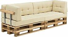 [en.casa] Palettenkissen - 2x Eckkissen - 2x Sitzpolster + 2x Rückenkissen [beige] Paletten-Sofa In/Outdoor