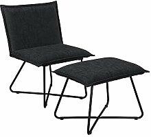 [en.casa] Stabiler Sessel mit Fußhocker im Set