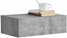 [en.casa] Wandregal mit Schublade - Beton-Optik -