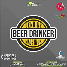 [ERREINGE] STICKER KONTUR-AUFKLEBER 22cm - Genuine Beer Drunker Beer Lustig - Aufkleber Decal Transfer Vinyl Wandaufkleber Laptop Auto Motorrad Helm Camper