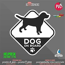 [ERREINGE] STICKER KONTUR-AUFKLEBER 28cm - Hund an Bord Dog on Board - Aufkleber Decal Transfer Vinyl Wandaufkleber Laptop Auto Motorrad Helm Camper