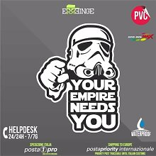 [ERREINGE] STICKER KONTUR-AUFKLEBER 28cm - Star Wars Your Empire Needs You Stormtrooper - Aufkleber Decal Transfer Vinyl Wandaufkleber Laptop Auto Motorrad Helm Camper