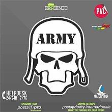 [ERREINGE] STICKER KONTUR-AUFKLEBER 35cm - Schädel Skull Army Militär - Aufkleber Decal Transfer Vinyl Wandaufkleber Laptop Auto Motorrad Helm Camper